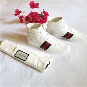 NEW GUCCI BIANCO MicroSoft Leather Hightop Sneaker